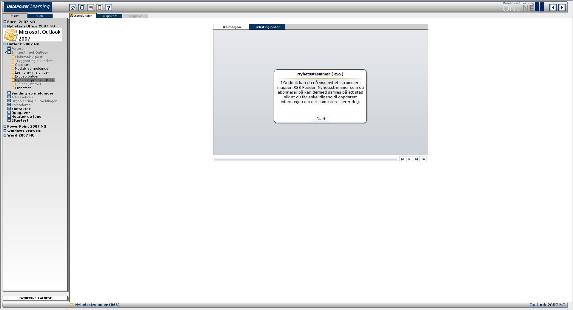 Screenshot av DataPowers grensesnitt, der Innholdsdelen vises til høyre, med en emnemeny til venstre. I innholdsdelen er det tre faner: Introduksjon, Oppskrift og Oppgave. Her er Introduksjonsfanebladet valgt. Introduksjonsfanebladet inneholder to sub-faneblader: 'Animasjon' og 'Beskrivelse og Bilder', som begge introduserer det valgte emnet.